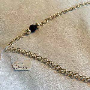 Handgjord tjock silverkedja med silver pärlor och svarta onyx